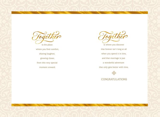 Together forever wedding congratulations card greeting cards together forever wedding congratulations card m4hsunfo