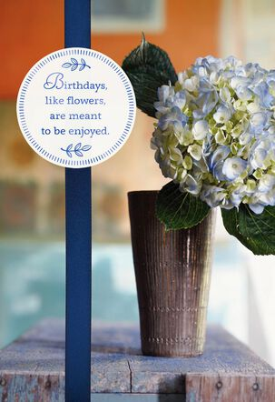 Blue Hydrangea With Foil Birthday Card
