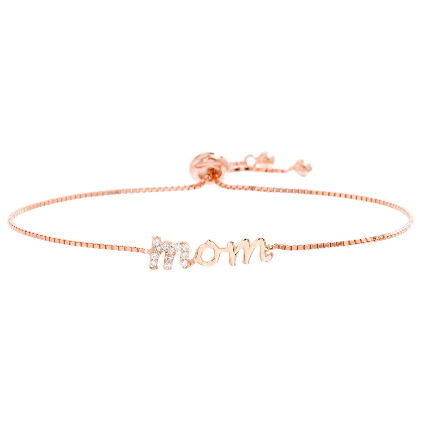 Mom Bolo Bracelet in Rose GoldPlated Sterling Silver Jewelry