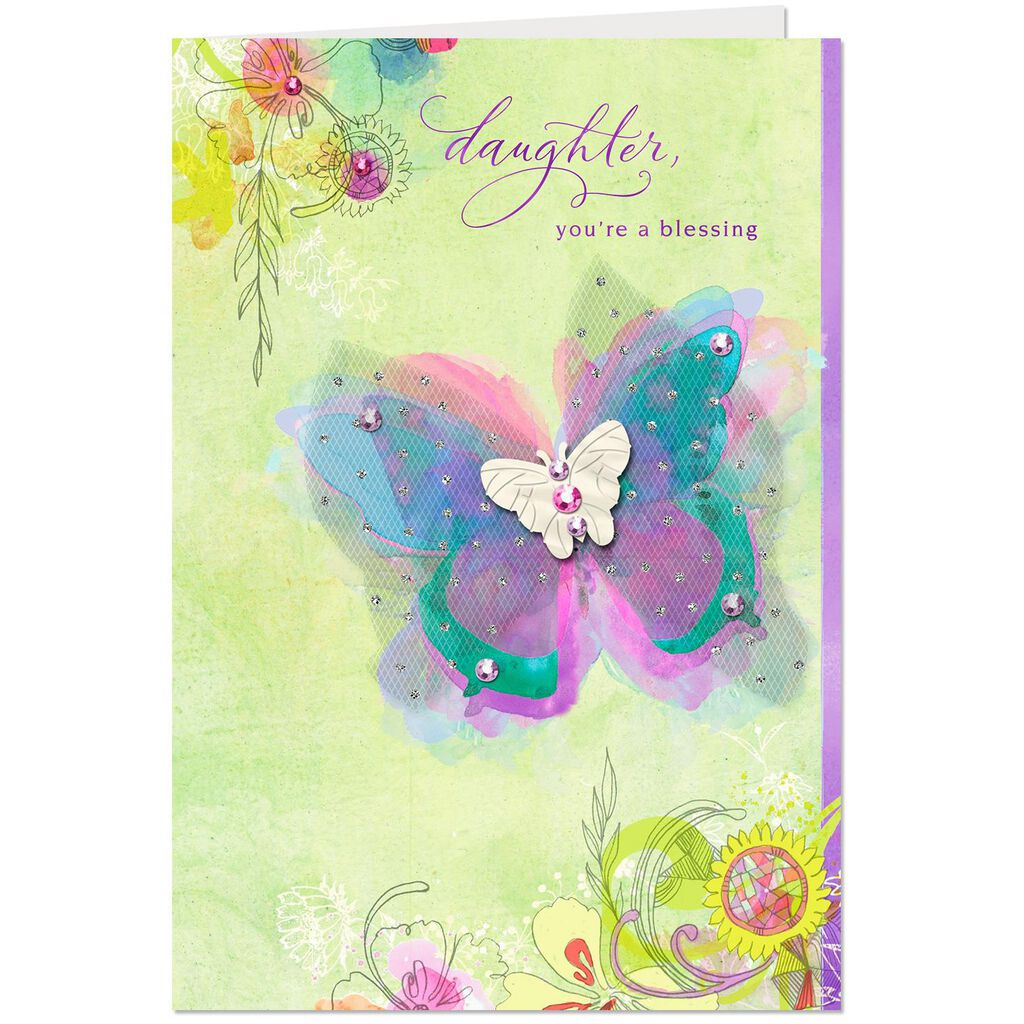 Fancy Butterfly Birthday Card For Daughter
