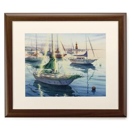 Sailboats in a Harbor 20x24 Print With Matted Frame, , large