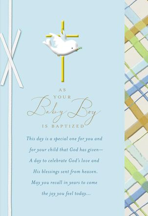 Dove With Gold Cross Baby Boy Baptism Card