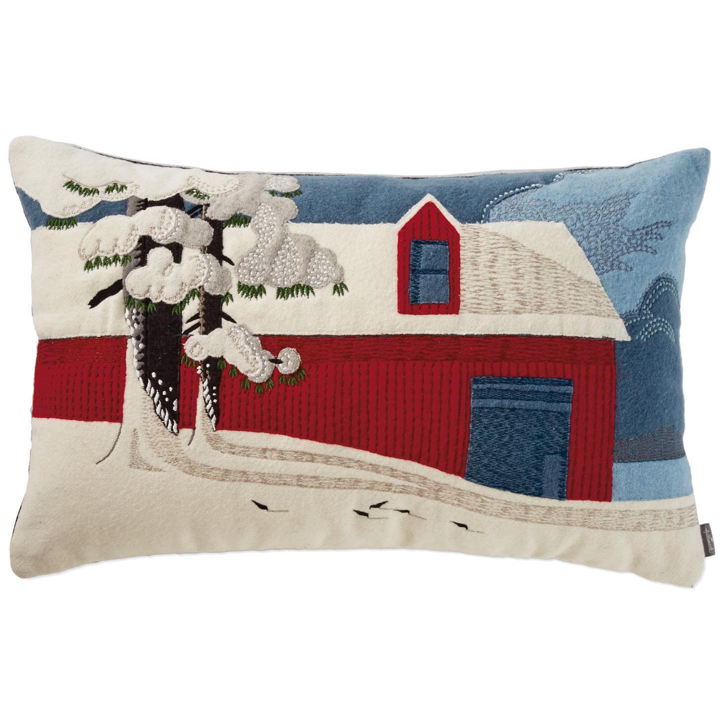 Red Barn Winter Scene Throw Pillow, 19x19 - Pillows