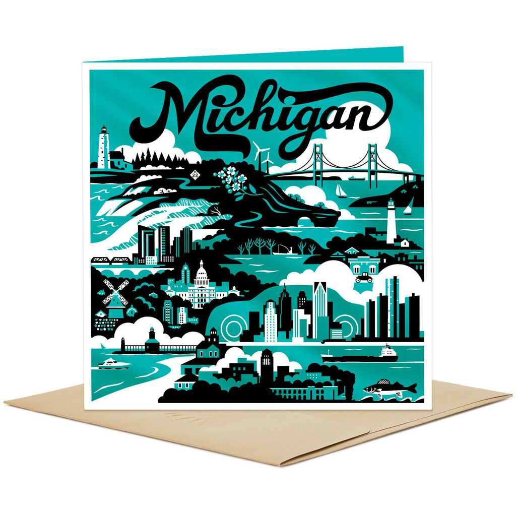 Michigan skyline and icons blank card greeting cards hallmark michigan skyline and icons blank card m4hsunfo