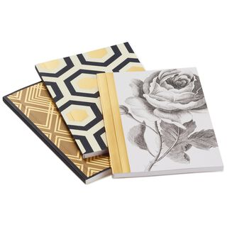 Classic Black and Gold Geometric Notebooks, Pack of 3,