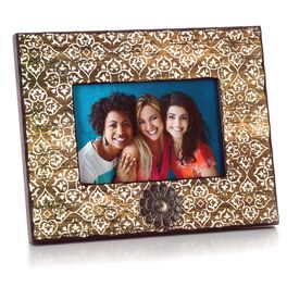 Wood Picture Frame with Embellished White Design and Metal Medallion, 4x6, , large