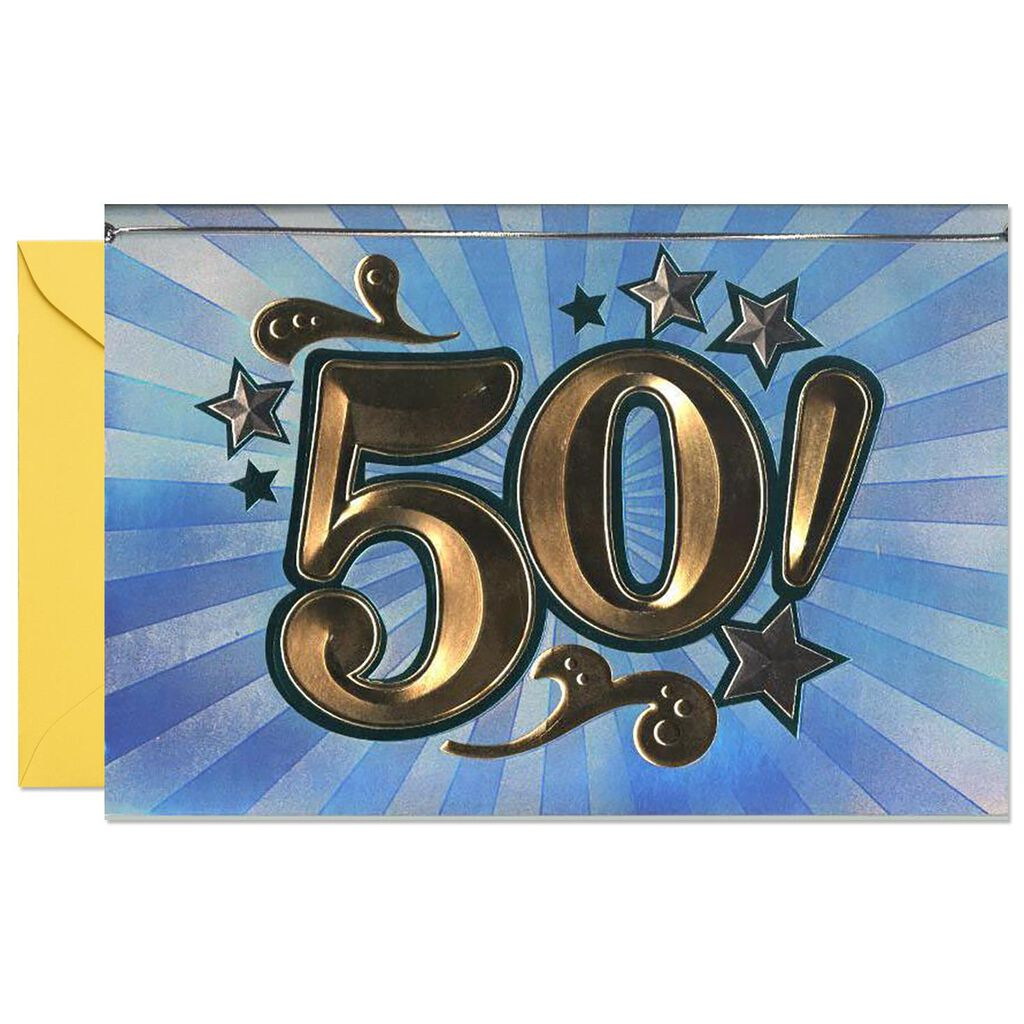 Heres To Fifty 50th Birthday Card