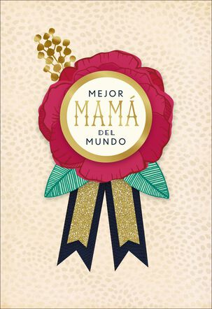Best Mom in the World Spanish-Language Mother's Day Card With Pin