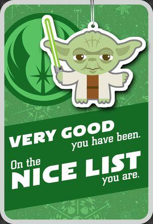 Yoda™ Nice List Christmas Card With Ornament