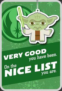 Yoda™ Nice List Christmas Card With Ornament,
