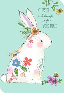 White Bunny With Flowers Easter Card for Relative,