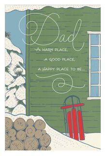 Woodshed and Sled Christmas Card for Dad,