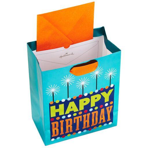 Bold Happy Birthday Cake On Turquoise Medium Gift Bag 95
