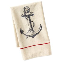 Cedar Cove Embroidered Anchor Tea Towel, , large