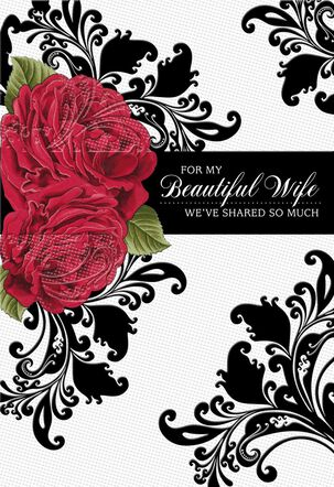 For My Beautiful Wife Floral Design Valentine's Day Card