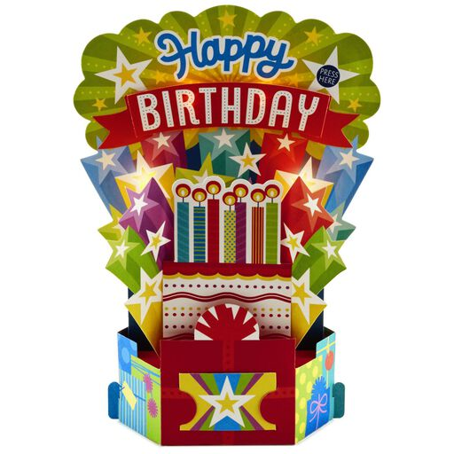 Birthday Cake With Candles Pop Up Musical Card Light