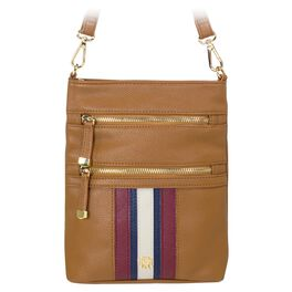 Mark & Hall Tan Stripe Multizip Crossbody Bag, , large