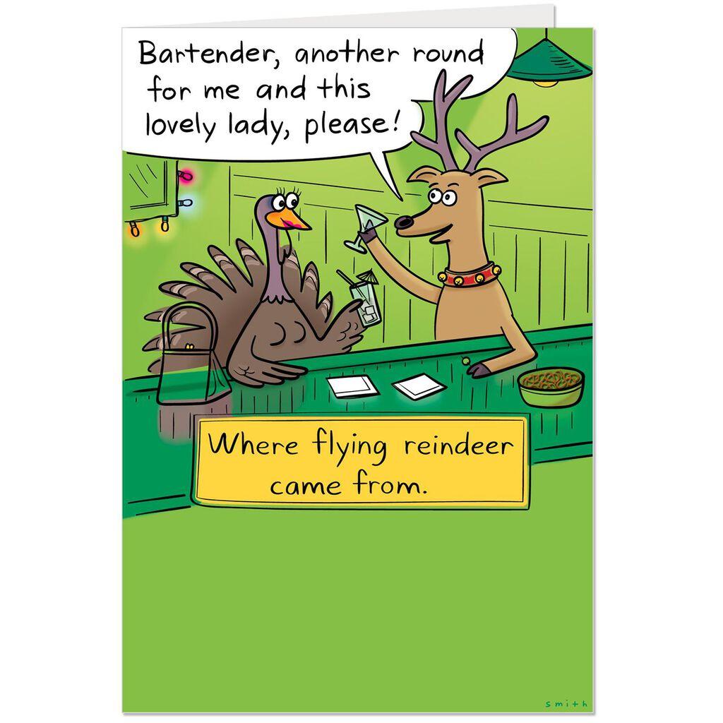 Flying Reindeer Origin Story Funny Christmas Card - Greeting Cards ...