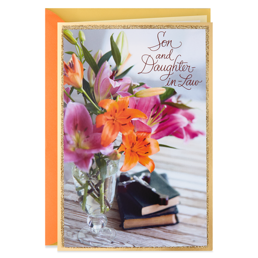 Vase Of Flowers Religious Easter Card For Son And Daughter In Law