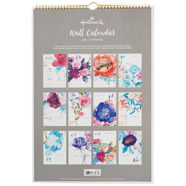 Flower Paintings 2018 Wall Calendar, 16-Month - Calendars - Hallmark
