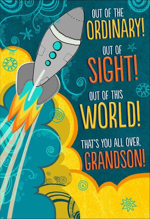 Rocket Out of the World Birthday Card for Grandson