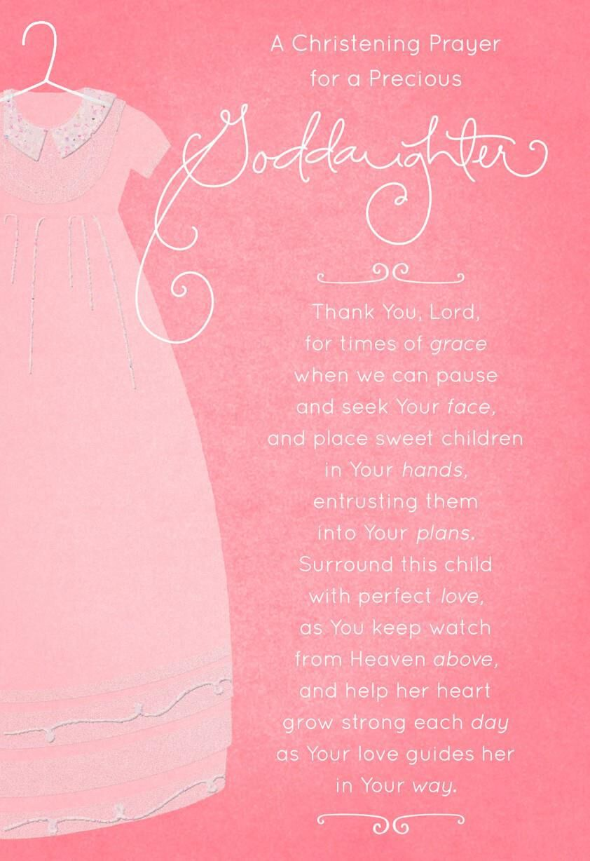 pink gown christening card for goddaughter greeting cards hallmark