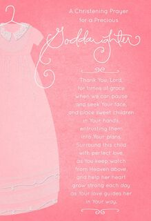 Pink Gown Christening Card for Goddaughter,