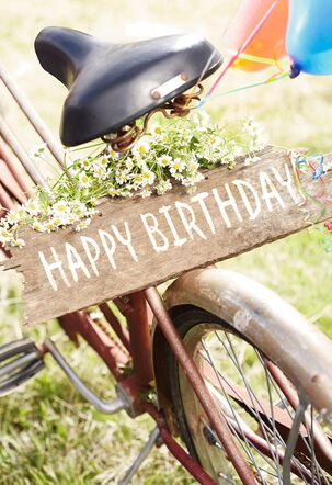 Vintage Bicycle and Wooden Sign Birthday Card