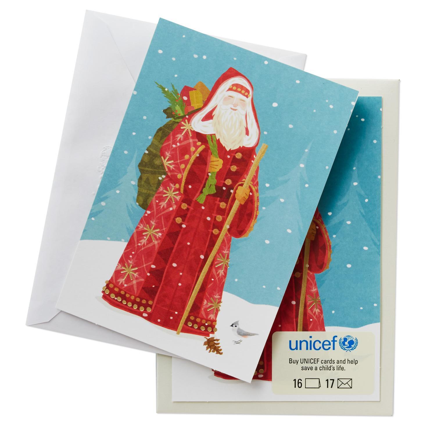 UNICEF European Santa Claus Christmas Cards, Box of 16 - Boxed ...