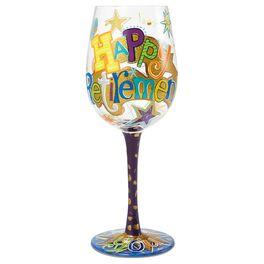 Lolita® Happy Retirement Handpainted Wine Glass, 15 oz., , large