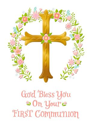 Gold Cross and Pink Flower Wreath First Communion Card