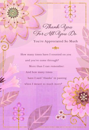 Flowers and Leaves on Purple Thank You Card