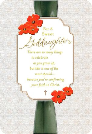 Ribbon and Flowers Confirmation Card for Goddaughter