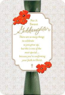 Ribbon and Flowers Confirmation Card for Goddaughter,