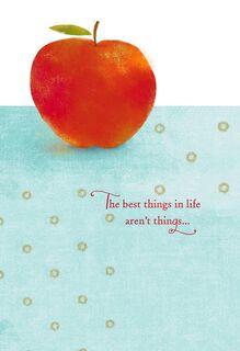 Red Apple on Blue Teacher Appreciation Card,