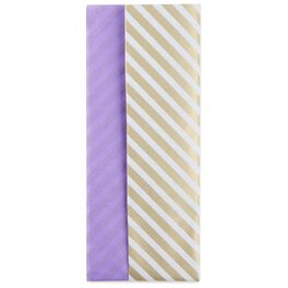 Gold Stripe/Purple Reversible Tissue Paper, 4 Sheets, , large