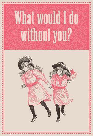 Victorian Era Girlfriends Valentine's Day Card for Her
