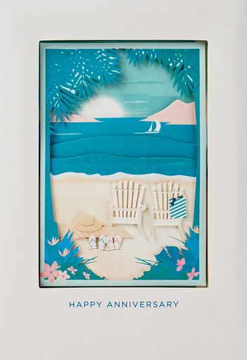 Day At The Beach Anniversary Card