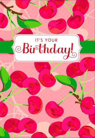 Cherry Pattern Warmest Thoughts Birthday Card