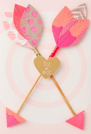 You and Me Arrows French-Language Love Card