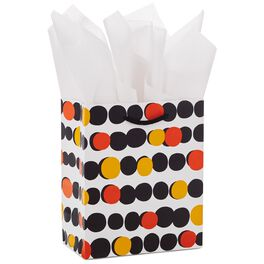 "Orange & Black Dots Small Halloween Gift Bag With Tissue Paper, 6.5"", , large"