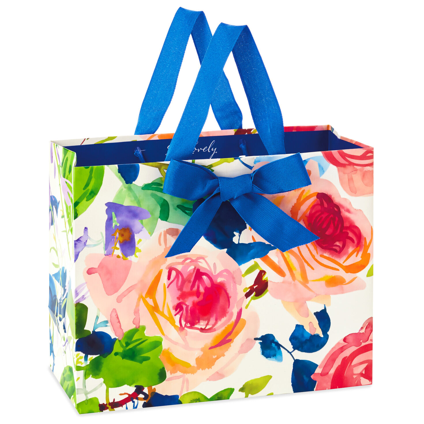 Printed Paper Gift Present Bag ROSES FROM MY GARDEN Pink Large Horizontal D