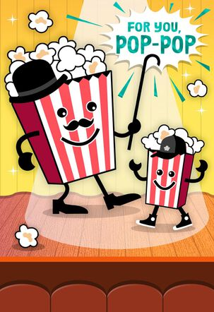 Dancing Popcorn Father's Day Card for Grandfather