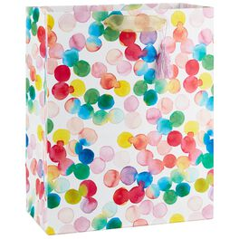 "Watercolor Dots Large Gift Bag With Tassel, 13"", , large"