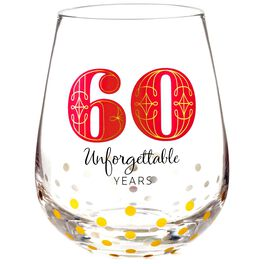 60 Unforgettable Years Stemless Wine Glass, , large