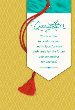 Look Forward, Daughter Graduation Card With Tassel