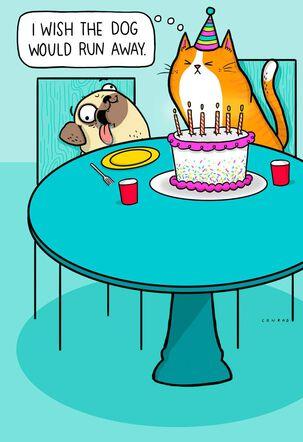 Cat's Wish Comes True Funny Birthday Card