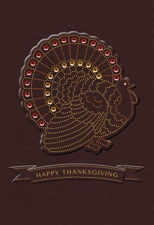 Turkey With Banner Thanksgiving Card