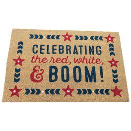 Celebrate Patriotic Coir Light-Up Door Mat, , large