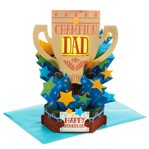 Champion Trophy Pop Up Musical Fathers Day Card With Light